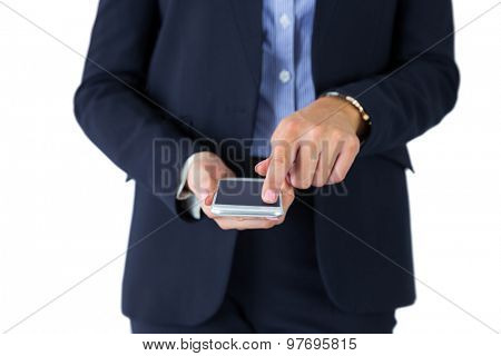 Businesswoman sending a text message on white background