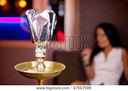 Close-up Photo Of Hookah With Smoking Girl On Background