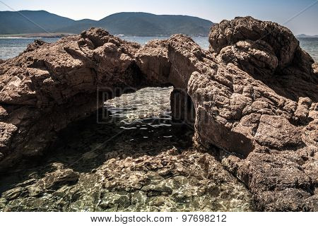 Dark Stone Grotto On The Mediterranean Coast