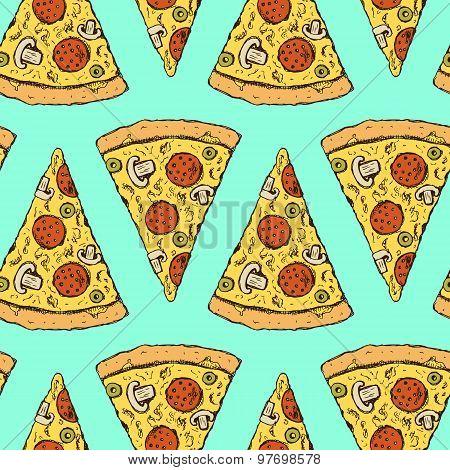 Sketch Pizza Slice In Vintage Style