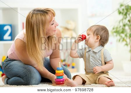 mother with child son play having fun pastime