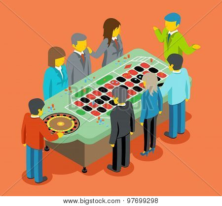 Isometric casino. People play at casino table