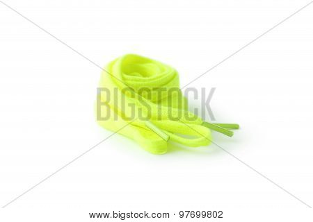 Green Shoelaces isolated on a white, close up