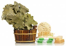 picture of bathing  - Bathing accessories for the body care isolated on white background - JPG