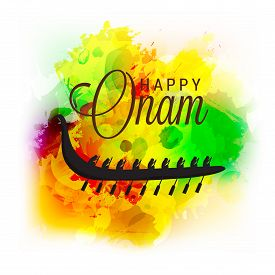 foto of pookolam  - illustration of a stylish text with colorful grungy background for Onam celebration - JPG