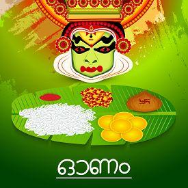 stock photo of pookolam  - illustration of a colourful Kathakali face on grungy colorful background for Onam celebration - JPG
