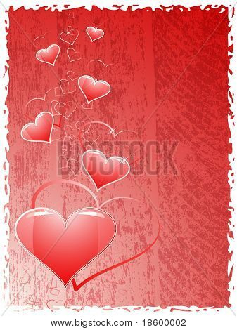 Heart on the red splotchy background