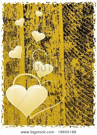 Heart on the yellow splotchy background