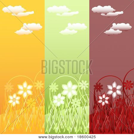 Set of three colorful vertical vector floral banners