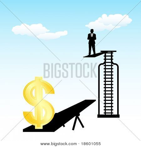 Businessman on the diving board jumps on a seesaw that the dollar rises
