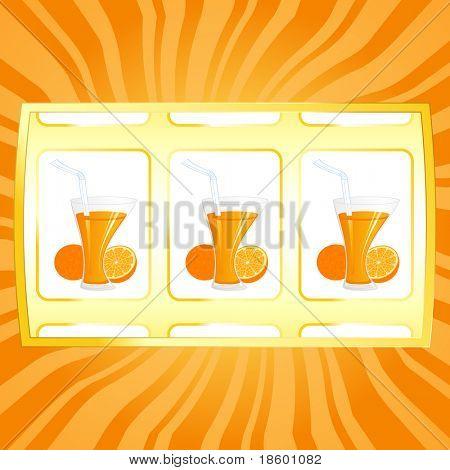 Orange juice and fruit on the jackpot