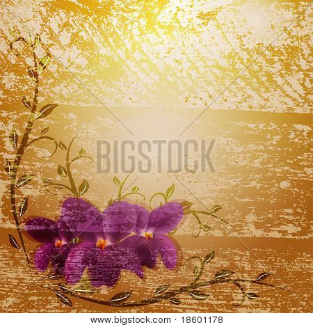 Invitation card with Viola flowers and splotchy brown background