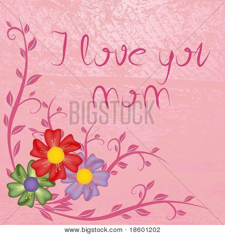 Mother's day card with flowers on the pink splotchy background
