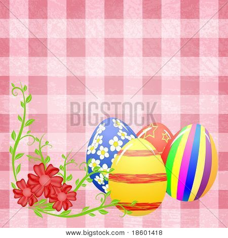 Easter eggs and flowers on the pink splotchy background