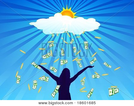Banknotes and coins fall from cloud on outstretched hands of girls