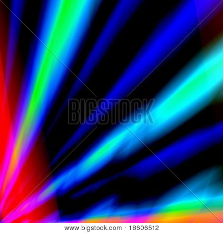 Blue fantasy rays on dark background
