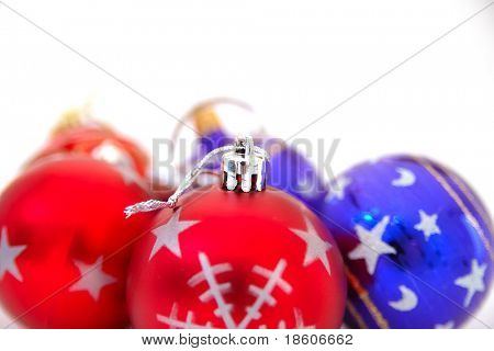 Christmas Objects: picture of christmas red and blue balls isolated on white