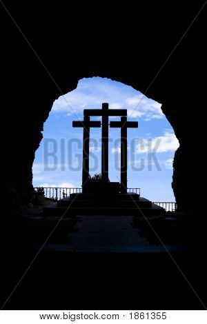 Three Crosses Silhouetted