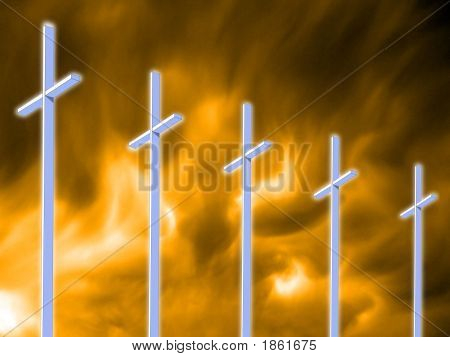 Five Crosses Against The Flames