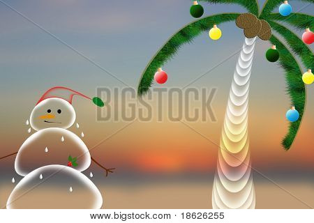 Snowman melting in tropics background