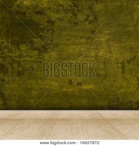 Dimensional Room With a Green Grunge Wall, and Tile Flooring.