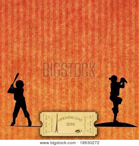 Opening Season 2010 Ticket on Baseball Background, with silhouettes
