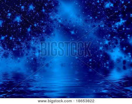 Fractal image of an abstract massive star galaxy or constellation reflected in water.