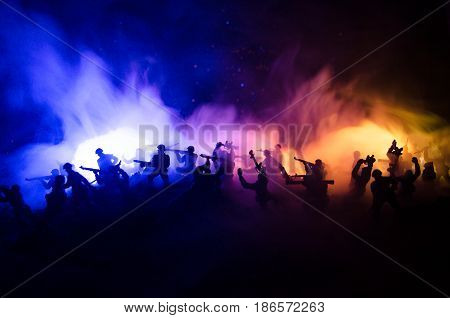 War Concept Military Silhouettes Fighting