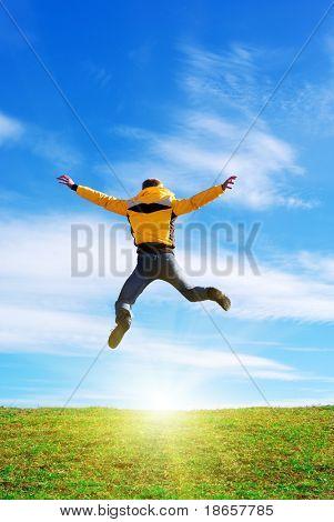 Man jump to sun. Emotional scene.