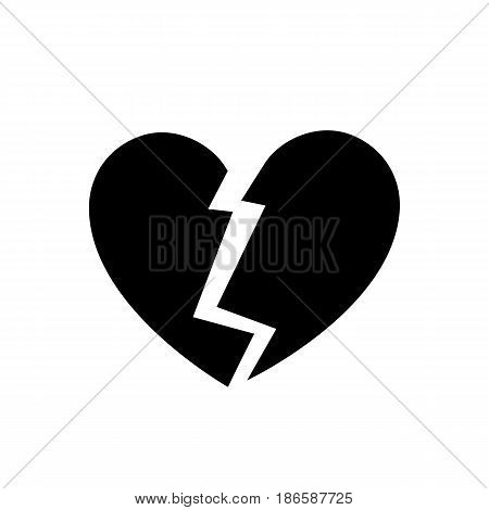 Broken heart. Black icon isolated on white background