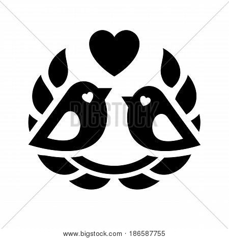 Couple of birds. Black icon isolated on white background