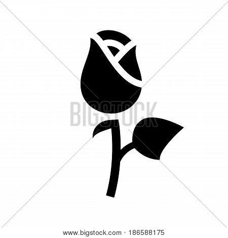 Rose. Black icon isolated on white background