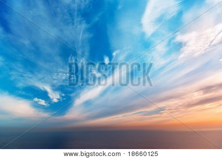 Sky background on sunset. Nature composition.