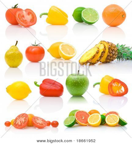 collection of different fruits and vegetables with reflections