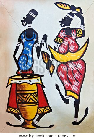African traditional painting representing a man with a drum and a dancer