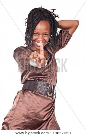 no, no sign african woman with dreadlocks, isolated on white