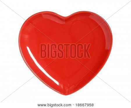 bright red Heart Plate isolated on white  perfect for Valentines day