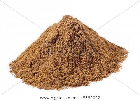 spices - pile of Special Garam Masala mix over white