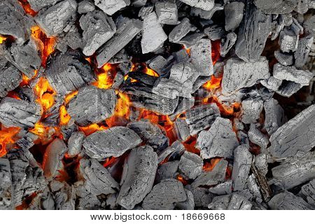 glowing charcoal for bbq, background