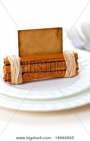 aromatic place card on white plates, shallow dof