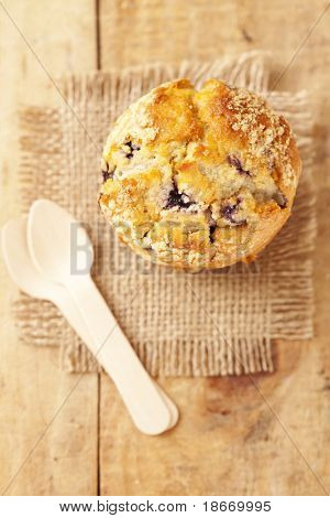 blueberry muffin in rustic style, shallow dof