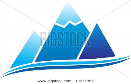 Mountain with ice. Vector illustration.