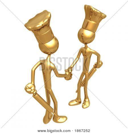 Golden Chef Bakers Handshake