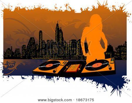 Girl DJ Silhouette on City Background