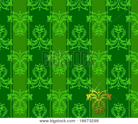 Green Floral Patten. Vector Illustration. NoMeshes.