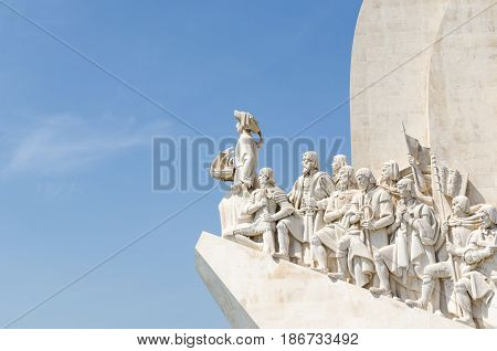 LISBON, PORTUGAL - APRIL 24: Close up of the Discovery monument in the Belem district in Lisbon Portugal on April 24, 2017