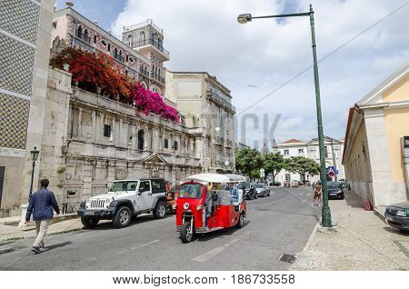 LISBON, PORTUGAL - APRIL 25: View from the street Rua Cais de Santarem in the district Alfama in Lisbon Portugal on April 25, 2017