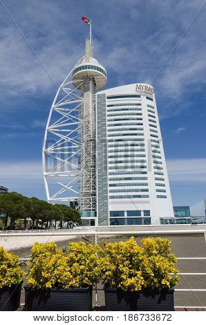 LISBON, PORTUGAL - APRIL 27: Vasco da Gama Tower and the Myriad Hotel - spectacular landmarks in Lisbon Portugal on April 27, 2017