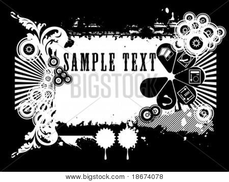 Black And White Show Silhouette Flayer Background. Vector Illustration. No Meshes.