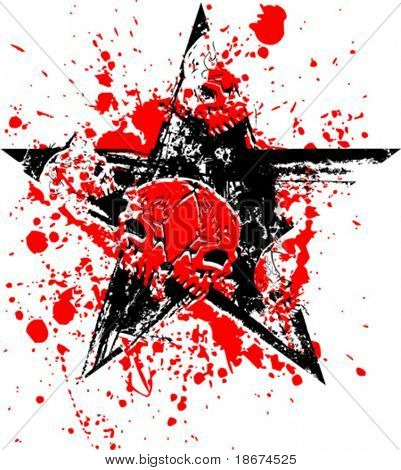 Red Black Skull Star